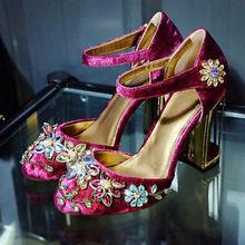 Retro date dress fashion elegant women block rhinestone flowers high heel shoes(China (Mainland))