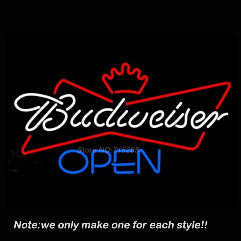 Budweiser Blue Open Neon Sign Art Design Signs Real Glass Tube Business Sign Handcraft Neon Bulbs Store Display Gifts VD17x14(China (Mainland))