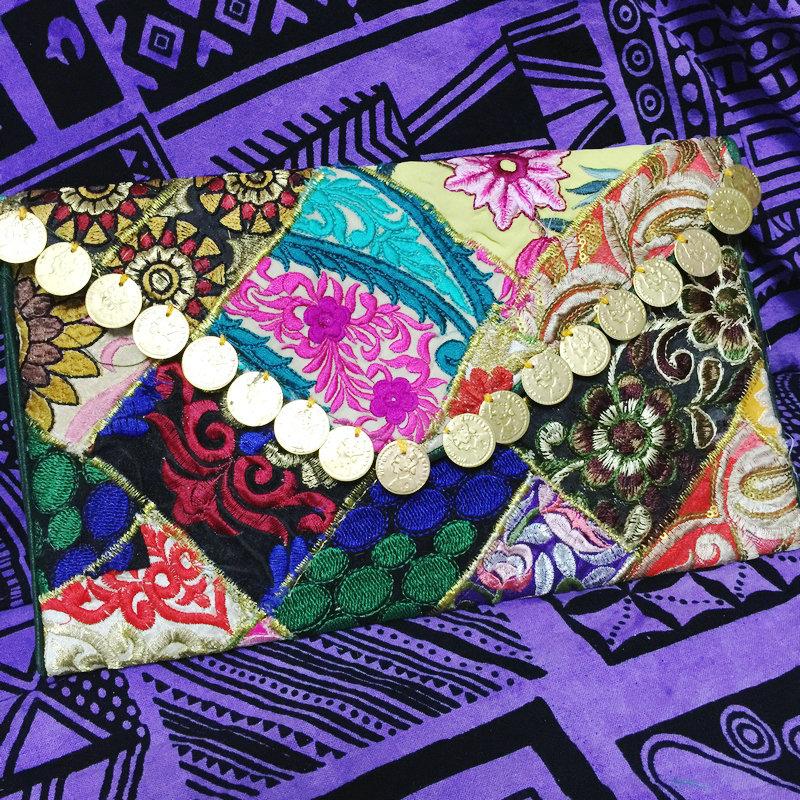 New Original Clutch handbag India Nepal handmade embroideries old embroidery flower national Envelope shoulder Messenger bag(China (Mainland))