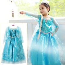Promotion High Quality Girls Princess Anna Elsa Cosplay Costume Kid's Party Dress SZ 3-8Y Free Shipping(China (Mainland))