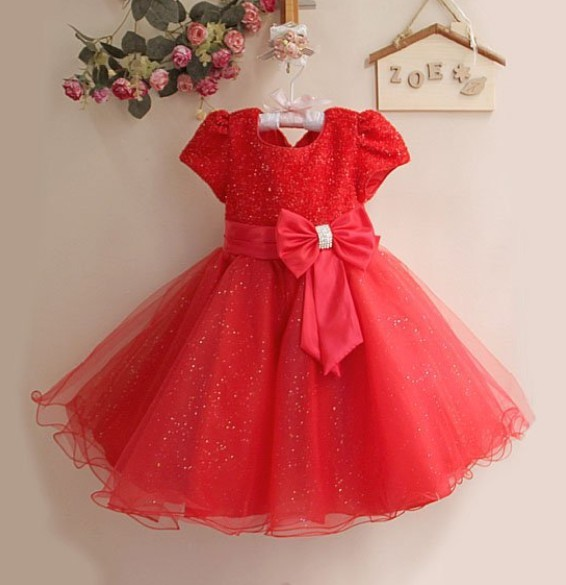 hot sales! fashion xmas kid evening dress short sleeve big bowknot flower girls party dress 1-4Y<br><br>Aliexpress