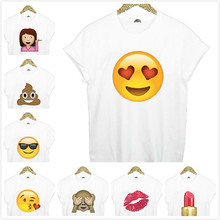Buy Brand New Women Tshirt Emoji Smile Print Cotton Casual Funny Shirt Lady White Top Tee Hipster Big Size ZT203-14 for $9.90 in AliExpress store