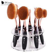 DUcare Oval makeup brushes 10pcs oval brush set makeup brushes set toothbrush oval makeup brush holder Kwasten with box(China (Mainland))