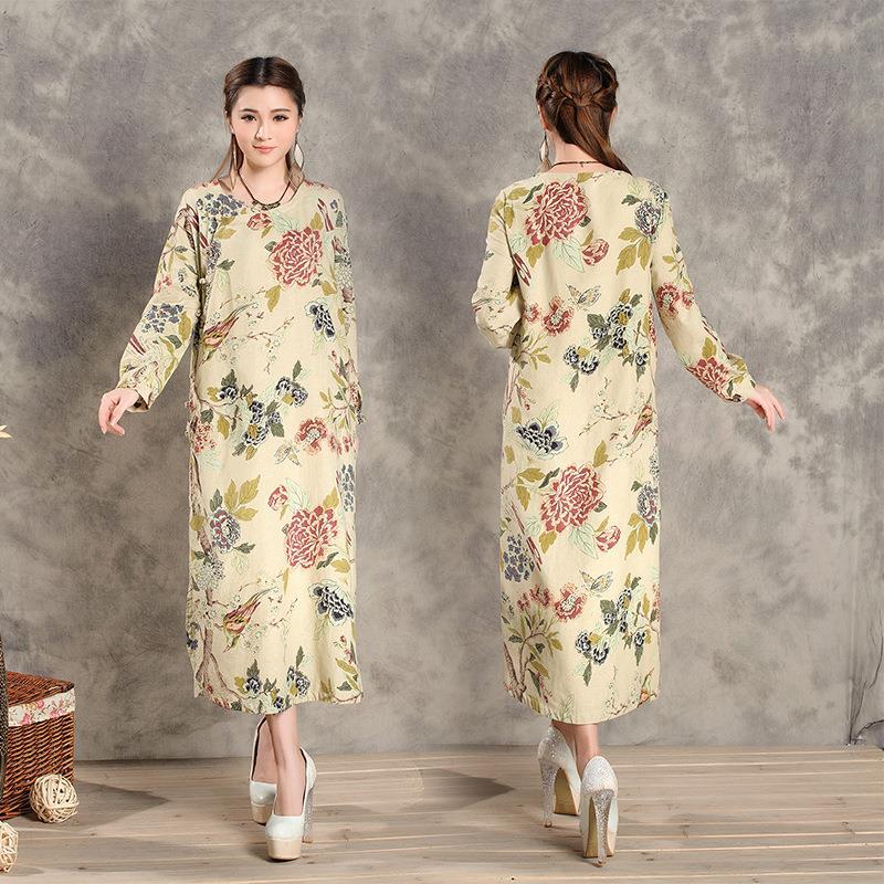 Chinese Wind Printing Yellow Linen Dress Women's Casual Long-sleeved Original Islamic Abaya Dress Spring And Autumn(China (Mainland))