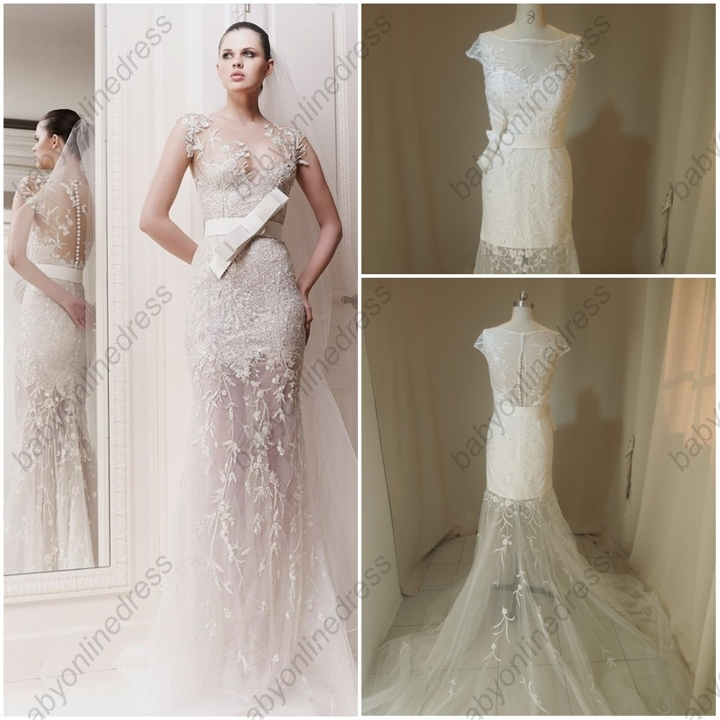 Free shipping real made zuhair murad embroidery mermaid for Zuhair murad wedding dresses prices