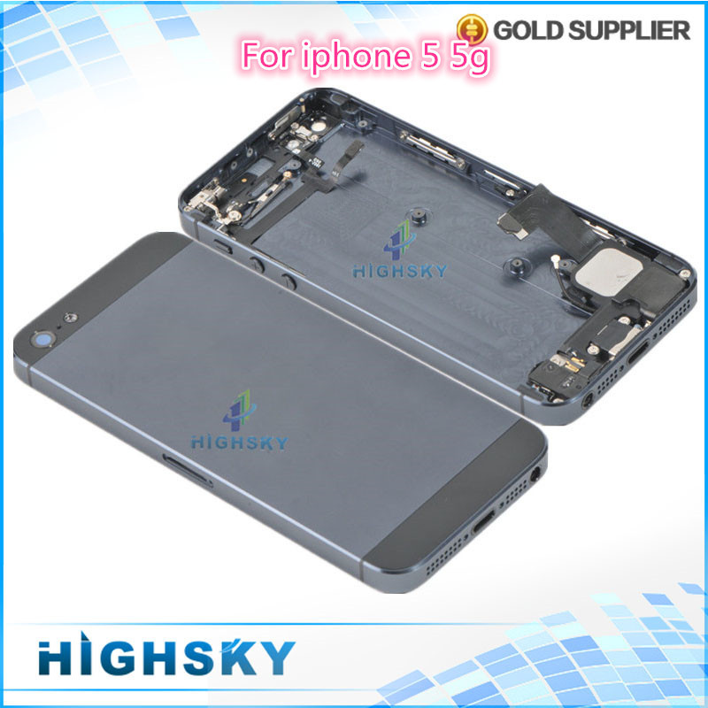 High quality replacement for iphone 5 5g full housing metal alloy back cover+flex cable+buttons assembly 1 piece free shipping(China (Mainland))