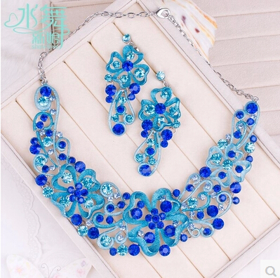 !Luxury 3 Colorfs Rhinestone Necklace Earring Jewelry Set Bridal Wedding Party Women's Accessories STL056 - ELEVEN JEWELRY store