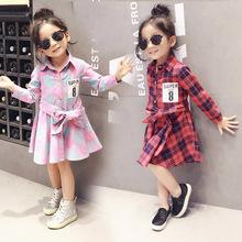 2017 new super 8 print children clothing child clothes cotton long sleeve baby girl dress kids girls princess plaid dresses(China (Mainland))