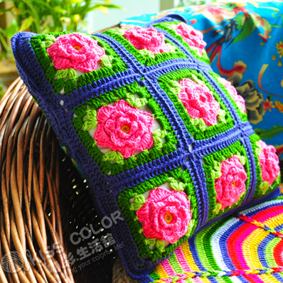 vintage crochet square floral cushion covers handmade cotton cojines housse de coussin granny. Black Bedroom Furniture Sets. Home Design Ideas