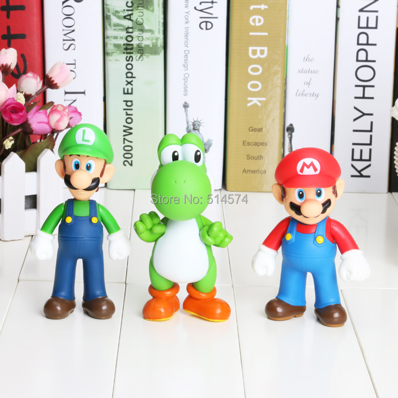 Retail Free shipping 3pcs/set Super Mario Bros Luigi Mario Action Figures Toys Doll(China (Mainland))