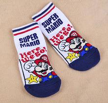 Cute 1 Pair New Navy Super Mario Bros Mario Cartoon Ankle Socks For Kid(China (Mainland))