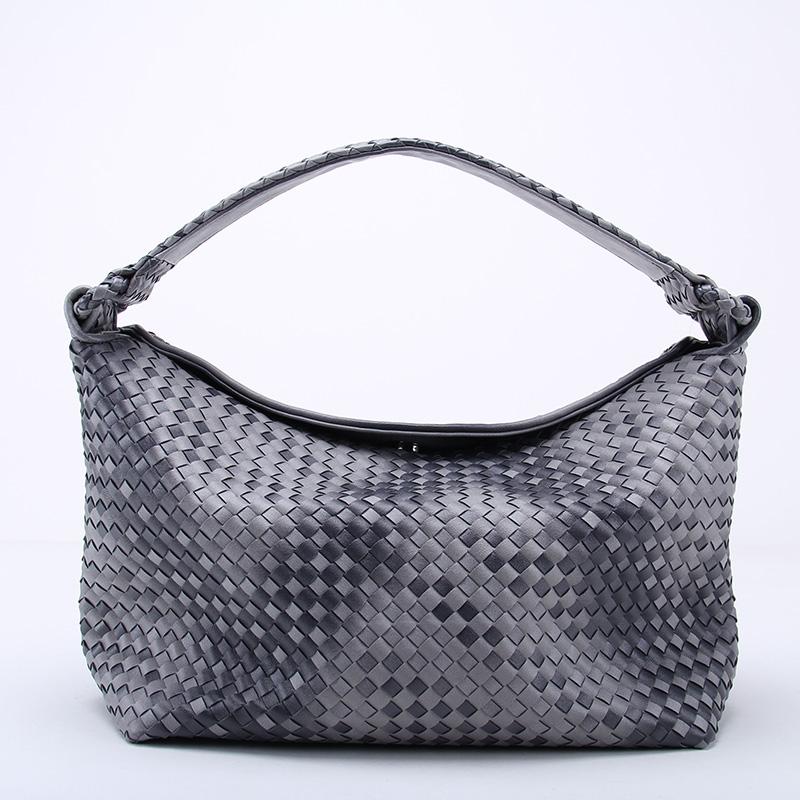 Fade Color Womens Woven Leather Half Moon Handbag Criss-Cross Knitting Hobo Gradient  Dumpling Bag Casual Tote<br><br>Aliexpress