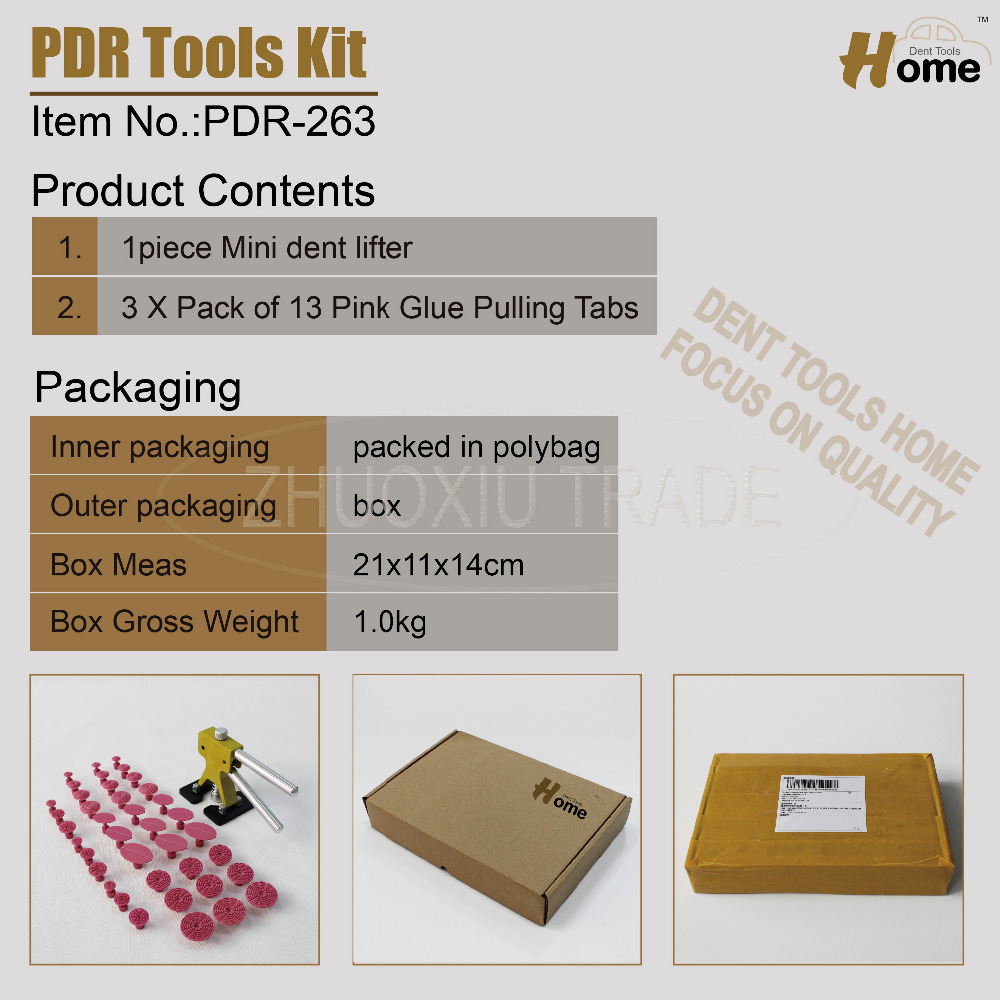 PRO Pops a dent ding repair removal tool set kit for car body repair PDR-263