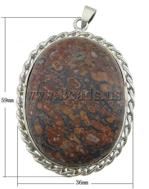 Free shipping!!! Pendants Jewelry,high quality, Leopard Skin Stone, with Brass, Flat Oval, platinum color plated, 36x59x9mm