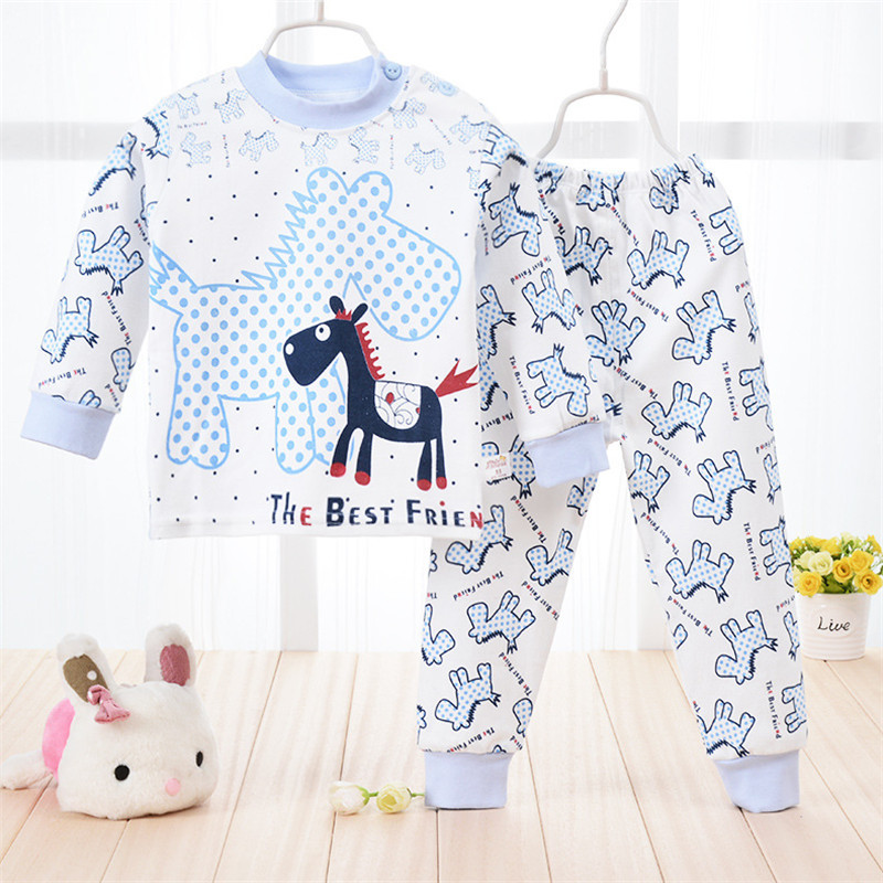 Baby Clothes 2015 Autumn Winter pajama sets Carter Animals Cute Baby Boys Girls Clothing Set Newborn Unisex T shirt+Pant 2pcs(China (Mainland))