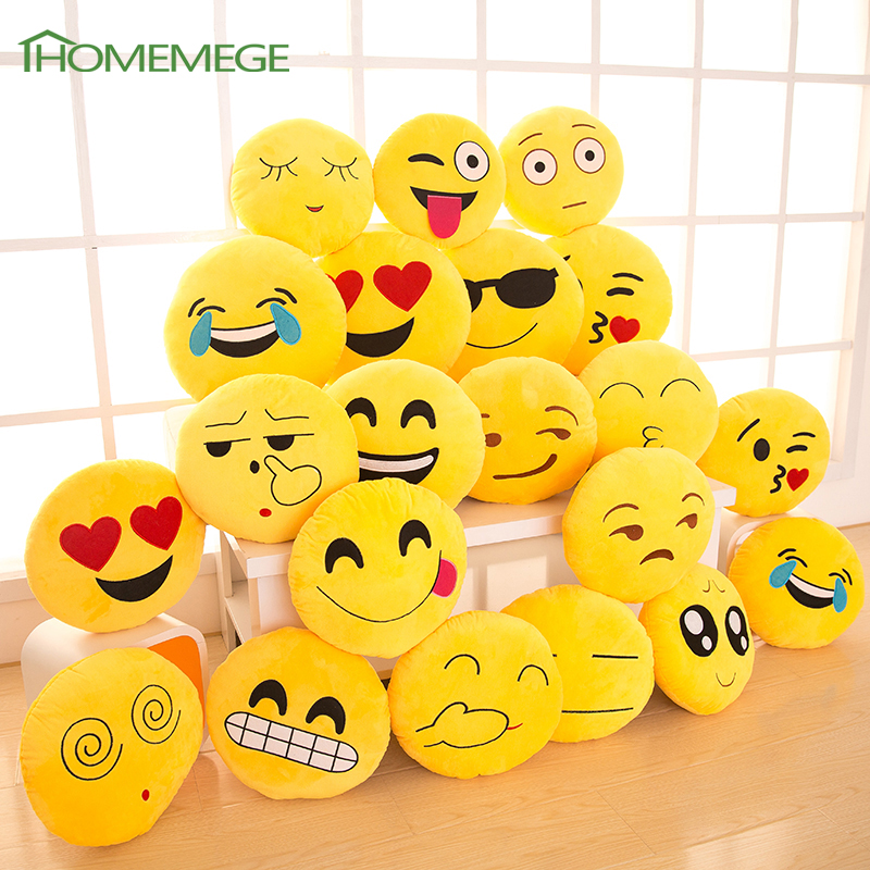 Emoji Pillow Funny Cute Smile Emoticon Pretty Round Cushion Pillows Stuffed Plush Toy Homemege Christmas Soft Emoji(China (Mainland))