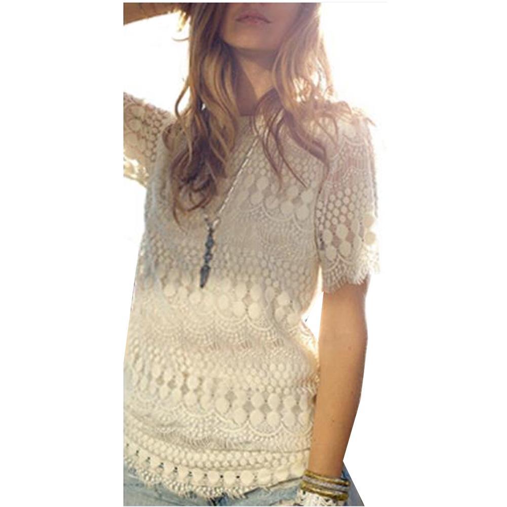 Elegant 2015 Spring Summer Women Plus Size Clothing Lace Tops Chiffon Blouses