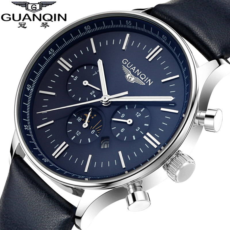 Watches Men Luxury Top Brand GUANQIN New Fashion Men's Big Dial Designer Quartz Watch Male Wristwatch relogio masculino relojes(China (Mainland))
