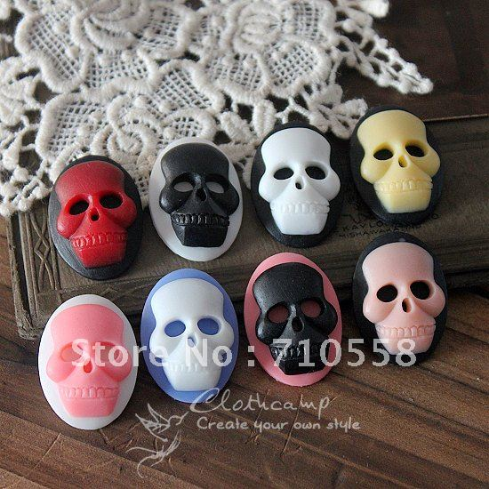 Wholesale~!! 13*18mm resin skull head pendant,flower cameo,resin cabochon pendants,necklace resin flower,100pcs(China (Mainland))