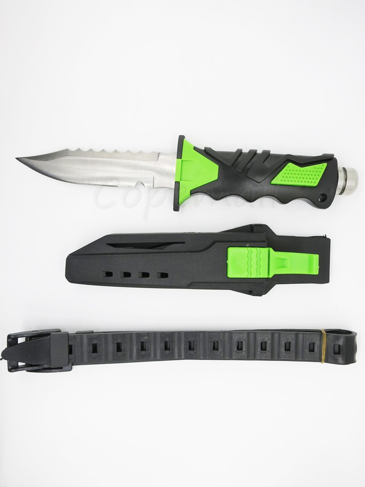 Buy Diving Diver's knife 440C outdoor survival tactical knife straight sanding surface hand tool with rubber scabbard cheap