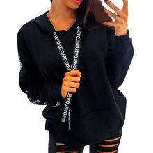 Carta cinta hoodie feminino moletom com capuz de manga comprida pulôver tops solto bolso casual hoodies senhora plus size 5xl(China)