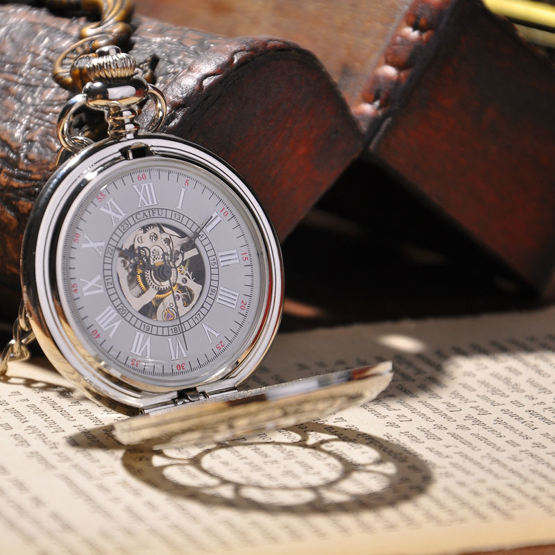 Cool Men Watch With Chain Necklace Analog Vintage Fashion 2015 New Cool Mechanical Pocket Watch Skeleton Watches(China (Mainland))