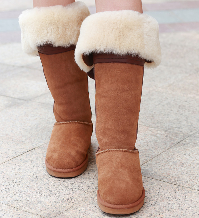 2015 Brand Fashion New Sweet Cute Style Sheepskin One Fur Winter Bowknot Over-The-Knee Women Snow Boots(China (Mainland))