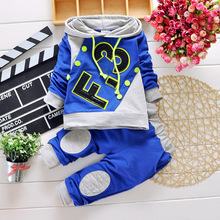 2015 Spring Fashion Letter Print Baby Boy Clothes Sport Children Clothing Set With Drawstring and Hood