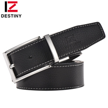 Buy DESTINY Genuine Leather Belt Men Luxury Famous Brand Designer High Silver Gold Belts Wedding Strap Male White Blue Cinto for $10.07 in AliExpress store