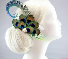 peacock feather hairpin hair decoration party/costume accessory princess headwear