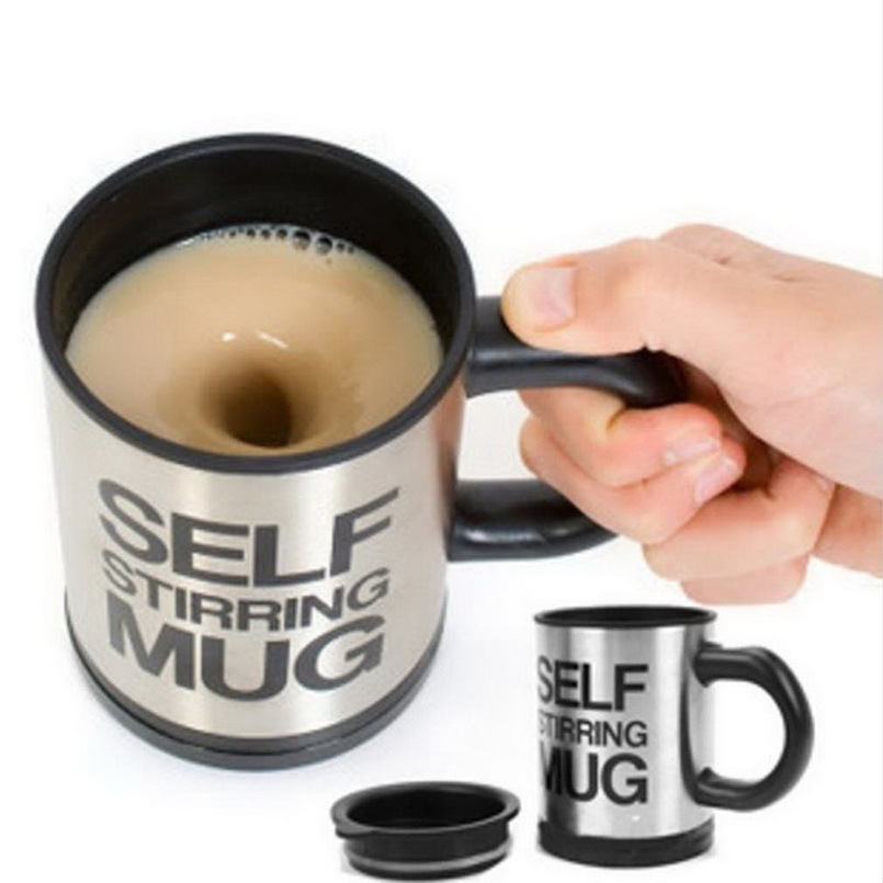 1Pcs Automatic Plain Mixing coffee Tea cup Lazy Self strring mug button Pressing YKS(China (Mainland))