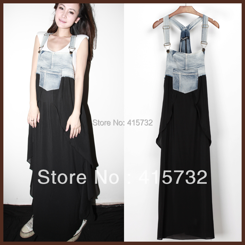 Free Shipping 2013 New Arrival Summer Denim And Layered Chiffon Patchwork Suspenders For Women Long Maxi Jeans Asymmetric DressОдежда и ак�е��уары<br><br><br>Aliexpress