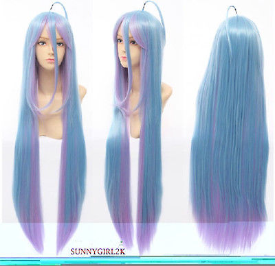 Hot heat resistant Kanekalon Party hair&gt;&gt;Anime No Game No Life Shiro 100cm Mixed Blue&amp;Purple Fade Cosplay hair Wig<br><br>Aliexpress
