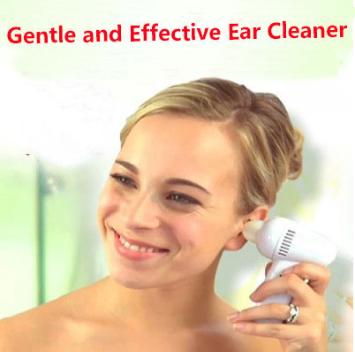2015 Safe White Painless Electric Vacuum Ear Cleaner Electronic Ear Cleaner Ear Care Tool with Silicone Nozzles & Brush(China (Mainland))