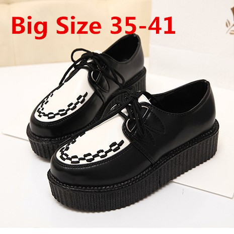 Гаджет  Creepers Platform Shoes Woman Flats Shoes Female Creepers Shoes Black Plus Size 40 41  None Обувь
