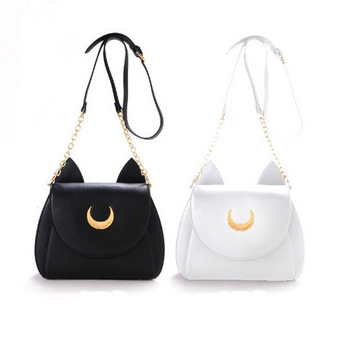 2015 Japan style girl kawaii cute samantha vega Sailor Moon LUNA leather cat shape shoulder messenger crossbody Satchel bag fan