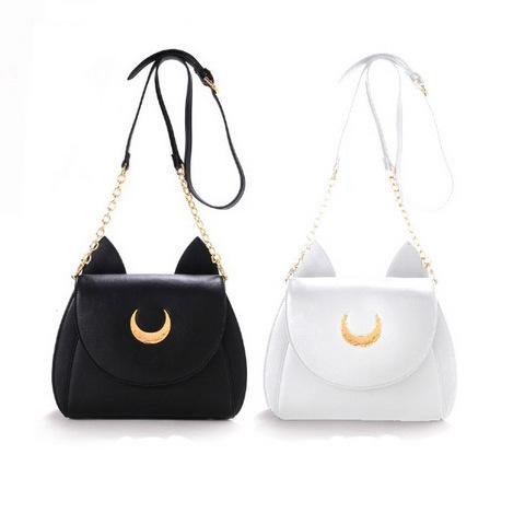 2015 girl kawaii cute samantha vega Sailor Moon LUNA leather cat shoulder messenger crossbody Satchel bag fan metal moon(China (Mainland))