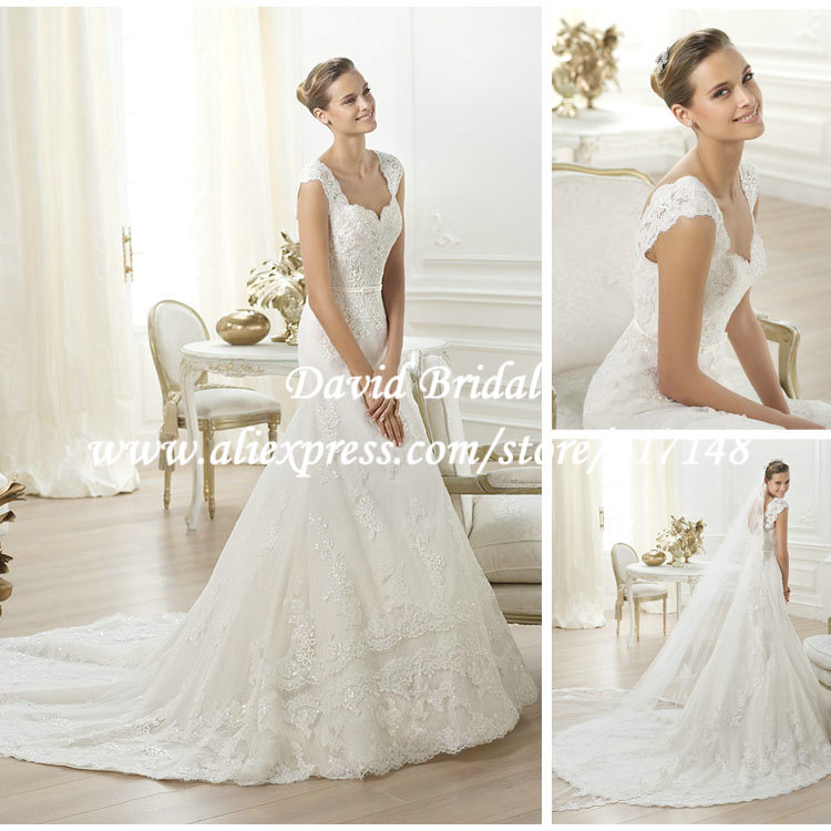 Lace Wedding Dress With Cap Sleeves Style D1919 : Victorian style beaded a line lace wedding dresses with cap sleeves