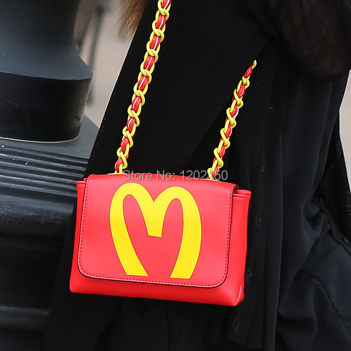 Cat bag 2014 red letter small bag mcdonald 's one shoulder chain bag m03-085(China (Mainland))