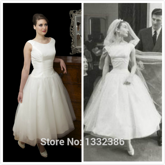 Hot vintage tulle over taffeta bateau neckline ivory tea for Audrey hepburn inspired wedding dress