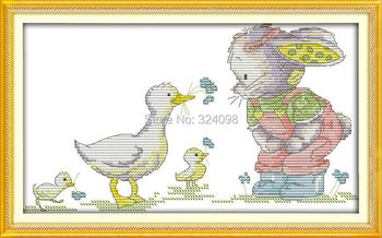 Wholesale Needlework,Stitch,DIY 14CT DMC Cross Stitch,Sets For Embroidery Kits,The Patch Rabbit and Duck Counted Cross-Stitching