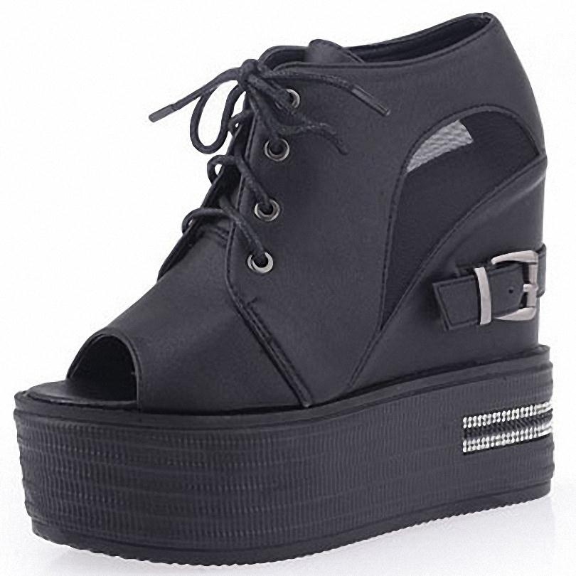 ENMAYER summer influx must boots lace-up comfort casual cool Wedges Womens Summer Ankle Boots woman sandals casuals shoes<br><br>Aliexpress