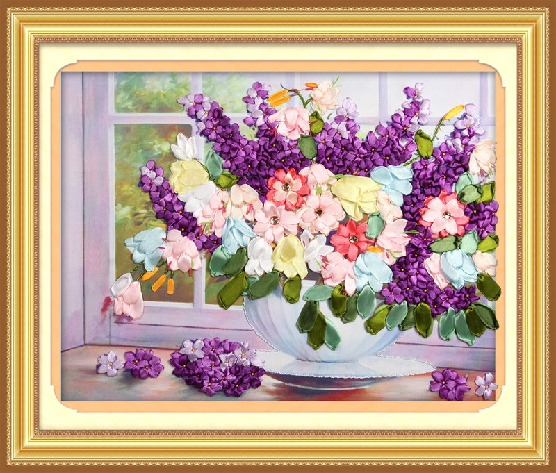 ribbon embroidery painting the living room bedroom suite of blue flower language sensation printing cross stitch(China (Mainland))