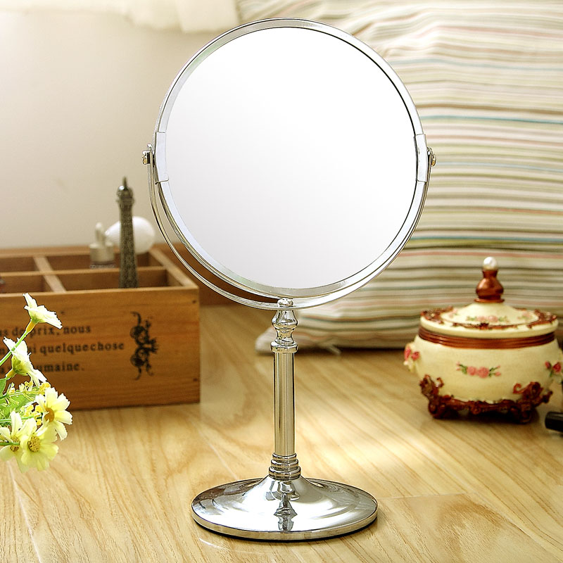 7-inch Tabletop Two-sided Swivel Vanity Mirror with 2x Magnification, Makeup Shaving Stand mirror Chrome Finish(China (Mainland))