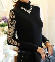 Free Shipping High Quality Plus Size S-XXXXL Elegant Hot Sale High Collar Embroidery Woman Thicken Knitting Cotton Blouse(China (Mainland))
