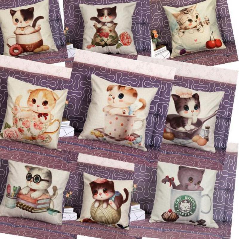 Foreign Explosion Cartoon Printing Cat Linen Furnishing Wholesale Cotton Decorative Throw Pillows Sofa Cushions Home Decor