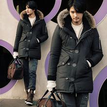 Parka men s 2016 Winter jacket men Medium long Wadded jacket large fur collar Men winter