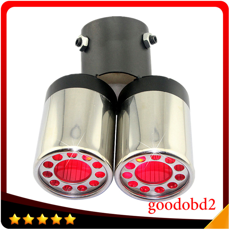 Universal Stainless Steel Car Exhaust Muffler Pipe Turbo Fit 4.5-5.8CM Diameter Exhaust End Pipes With Red Light<br><br>Aliexpress