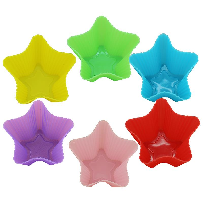 Silicone Cake Mould Cupcake Baking Muffin Cups Liners Molds Star Shape 6PCS(China (Mainland))