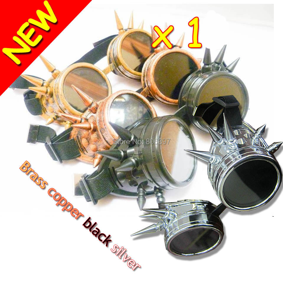 New 2014 WELDING CYBER GOGGLES STEAMPUNK COSPLAY GOTH ANTIQUE VICTORIAN WITH SPIKES(China (Mainland))